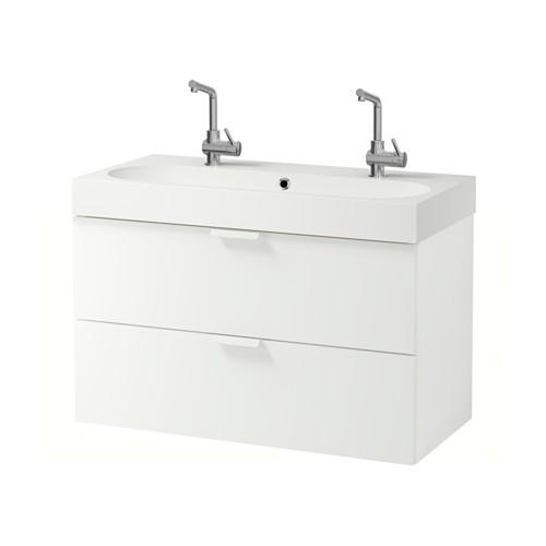 BRÅVIKEN/GODMORGON mueble de baño para lavabo con 2 cajones, juego de 2