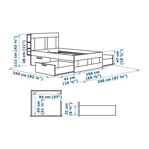 BRIMNES Cama 160, estructura con cabecero, almacenaje y somier de láminas reforzadas LÖNSET