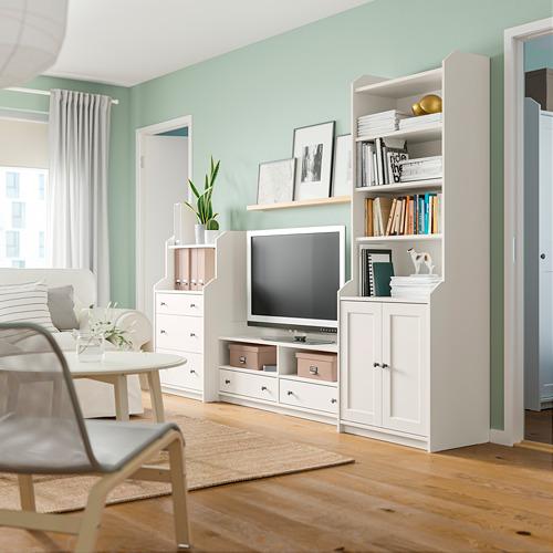 HAUGA combinación almacenaje con mueble TV, 277x46x199cm