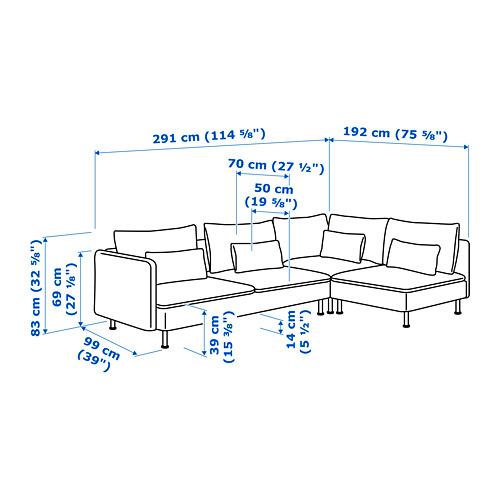 SÖDERHAMN sofá 4 plazas esquina
