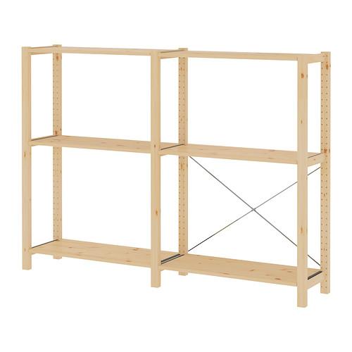 IVAR Estantería, 2 secciones con estantes, 174x30x124cm