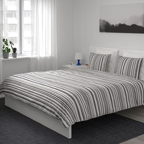 RANDGRÄS funda nórdica y 2 fundas almohada, 240x220cm y 50x60cm, 200 hilos