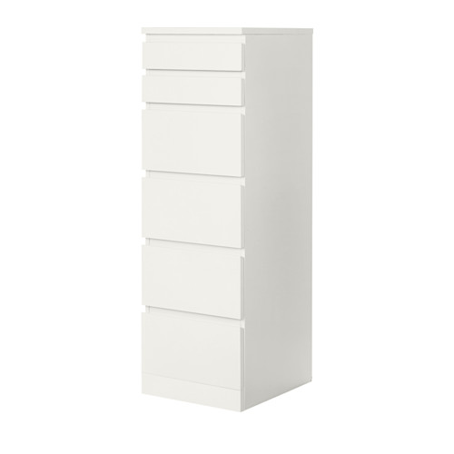 MALM cómoda vertical de 6 cajones, 40x48,5x123cm