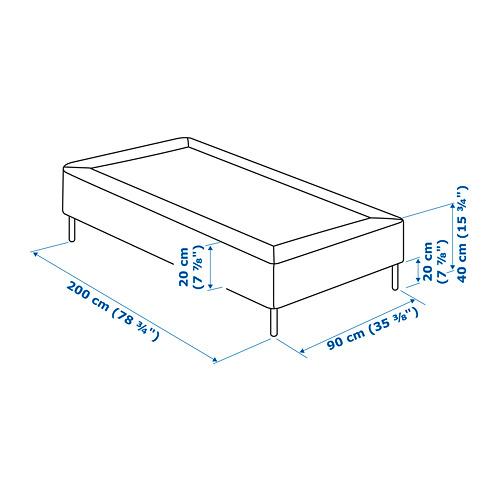ESPEVÄR somier de láminas con funda blanca y patas, 90cm