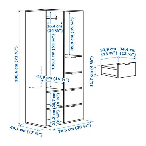 SUNDLANDET armario abierto con 4 cajones