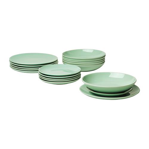 FÄRGRIK vajilla 18 piezas, incluye 6 platos de 27cm, 6 platos de 24cm y 6 platos de 21cm de diámetro