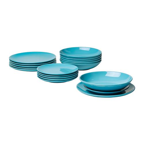 FÄRGRIK vajilla de 18 piezas, incluye 6 platos de 27cm, 6 platos de 24cm y 6 platos de 21cm de diámetro