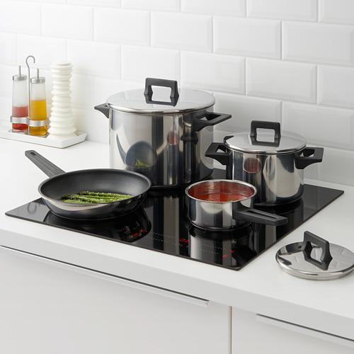 SNITSIG batería de cocina , incluye: cacerola de 1L con tapa, olla de 3L con tapa, olla de 5L con tapa y sartén.