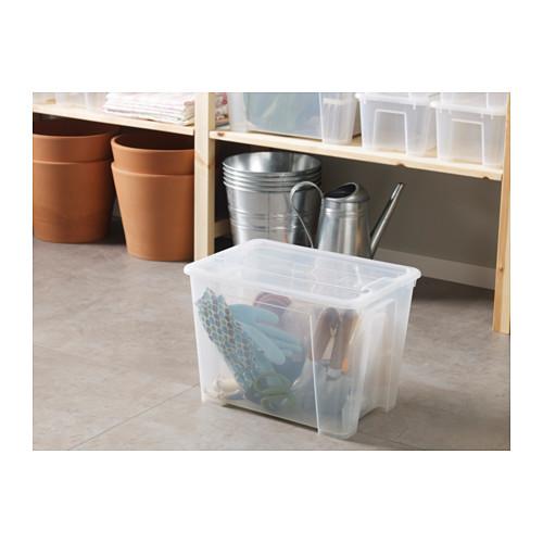 SAMLA caja con tapa, 22 litros