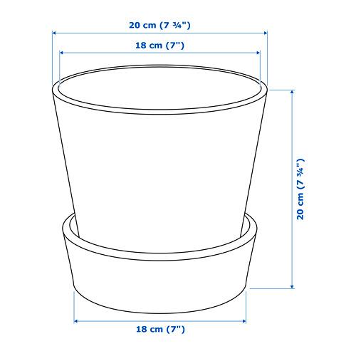 INGEFÄRA macetero con plato, diámetro máximo maceta, 15 cm