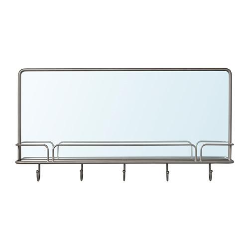 SYNNERBY espejo con estante y ganchos, 71x38cm