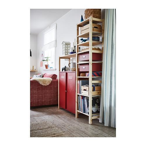 IVAR Estantería, 2 secciones con armario, estantes y cajones, 134x30x179cm