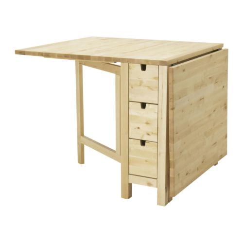 NORDEN/RÅSKOG mesa abatible con 2 taburetes, longitud máxima 152cm