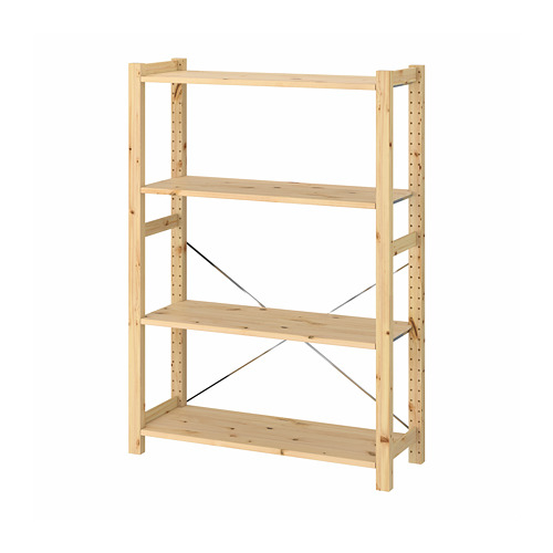 IVAR Estantería, 1 sección con estantes, 83x30x124cm